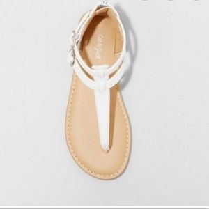 Cat & Jack Shoes - NWOT Cat & Jack White Girls Jackie Thong Sandals
